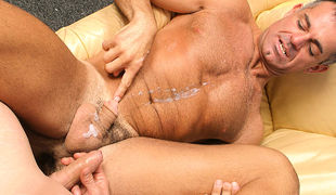 Muscular DILF John Marcus can never pass up the opportunity for some hard infant cock