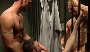 Horny prisoners share amateur guy