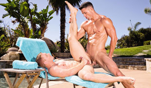 As Scott Riley approaches the pool, Ryan Rose lifts his sunglasses to acquire a better look at Scott's frisky butt