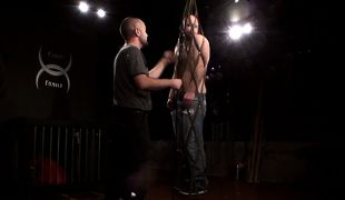 The boy finds his new encasement very restrictive